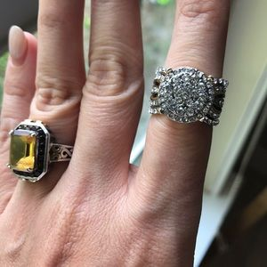 Cocktail ring silver and gold size 7